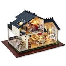 Luxury Provence Music House DIY Dollhouse Kit Miniature Furniture LED Lights Loft Apartments House Toys with DIY Tools