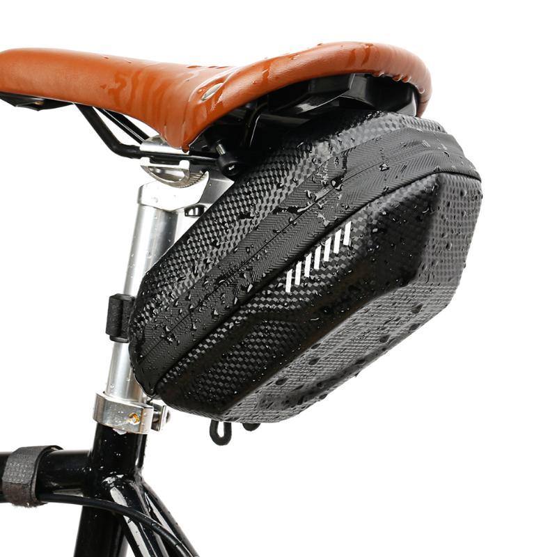 Bolsa impermeable para bicicleta de montaña, bolsas de sillín con patrón de carbono, carcasa dura EVA, equipo de bicicleta de gran capacidad
