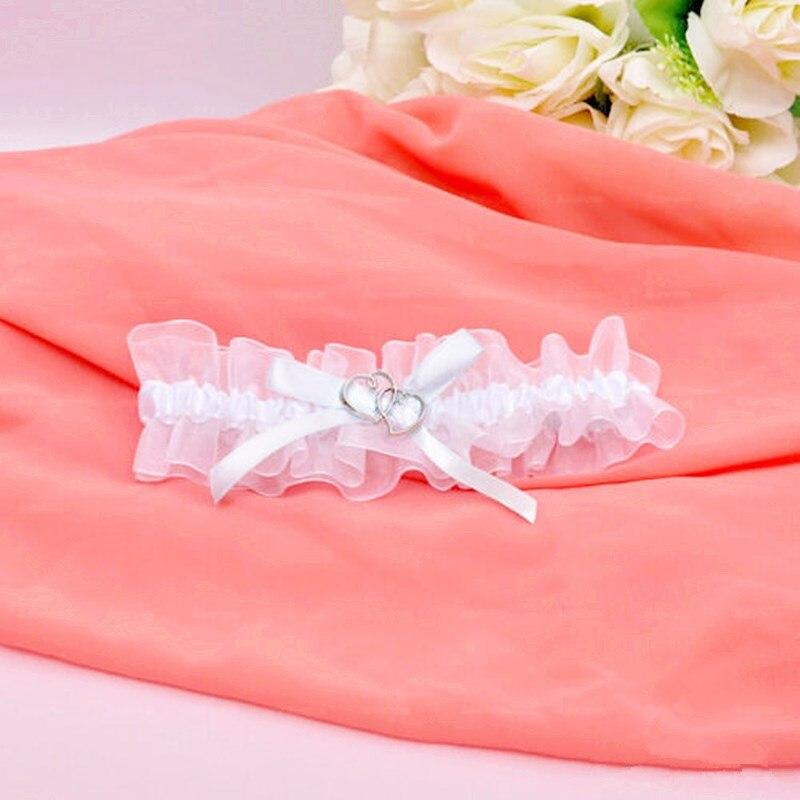Garter casamento nupcial estiramento branco garter belt com strass liga do vintage com arco