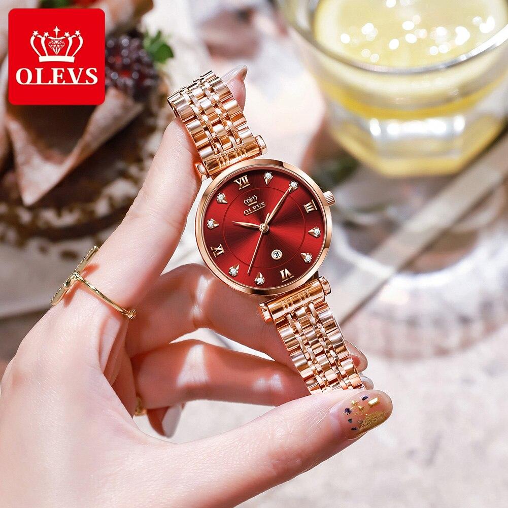 OLEVS Women's Watch Luxury Brand Fashion New Stainless Steel Wristwatch Calendar Waterproof Watch Women Gift Relojes