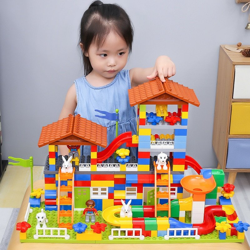 Big Particle Building Blocks Castle Brick Toys Compatible Brand City House Big Size Slide Blocks For Children Gift недорого