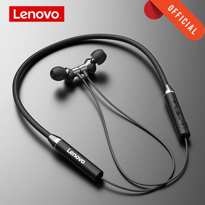Auriculares inalámbricos Lenovo Bluetooth5.0, auriculares magnéticos con banda para el cuello, Auriculares deportivos impermeables IPX5 con micrófono de cancelación de ruido