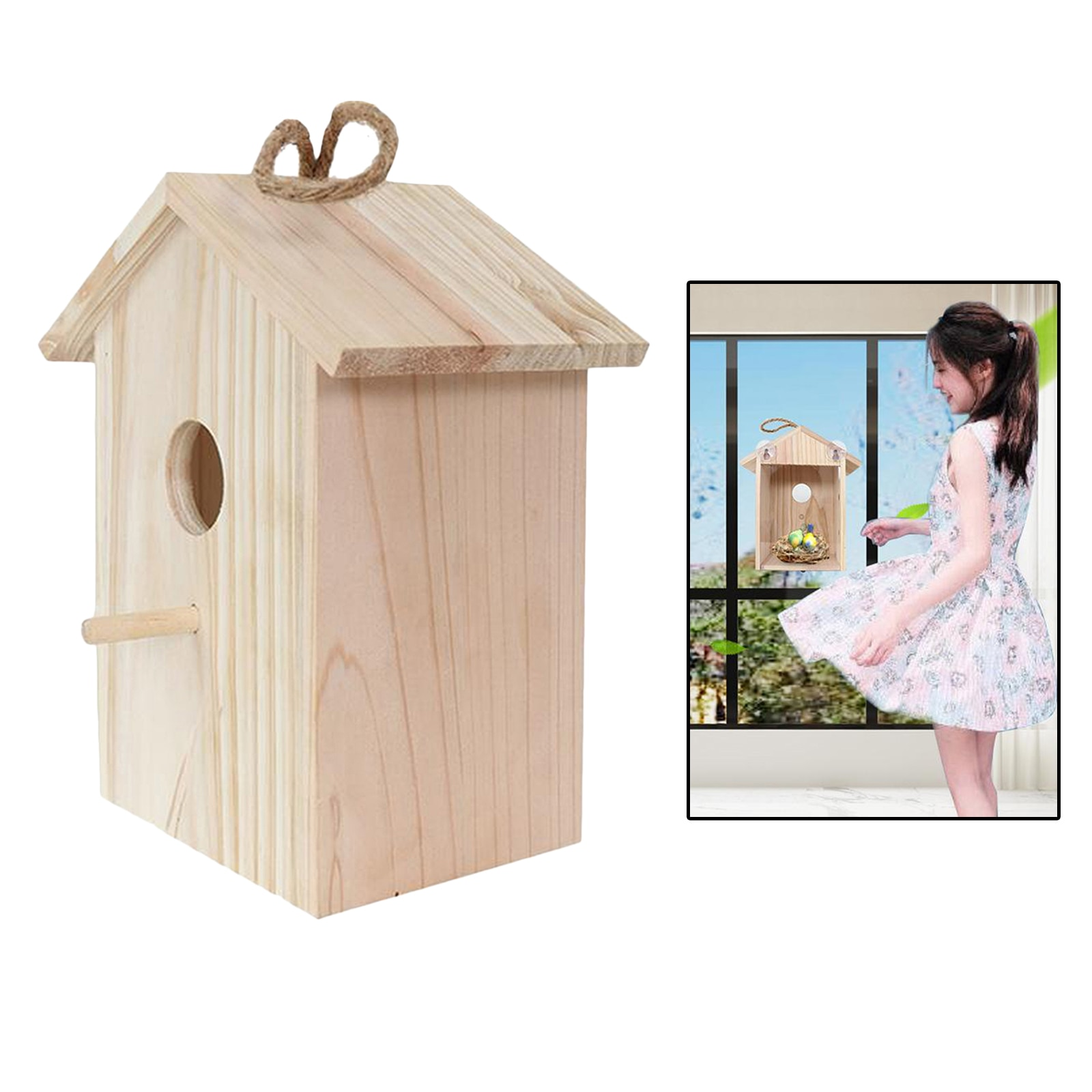 Suction Up Window Bird House Unfinished Wooden Birdcage for Bird Watching