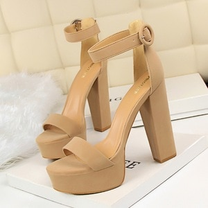 Europe and the United States Thin Super High Heels Sexy Club Sandals for Women's shoes Waterproof Platform Peep-toe belt buckle