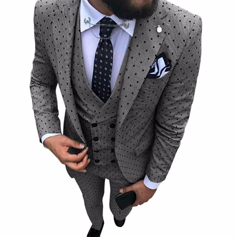 New Men's Suit Smolking Noivo Terno Slim Fit Easculino Evening Suits For Men Tuxedos Groomsmen Wedding/party(Blazer+vest+Pants)