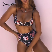 Simplee Sexy floral print bikini set Dreieck push-up sommer strand bademode Hohe taille micro frauen strand urlaub badeanzug 2020