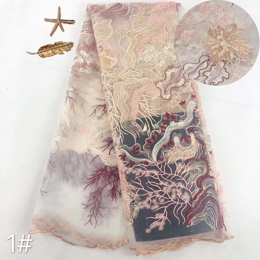 Mais vendido lantejoulas tule bordado francês tecido de renda líquida SYJ-62882 para vestido de festa