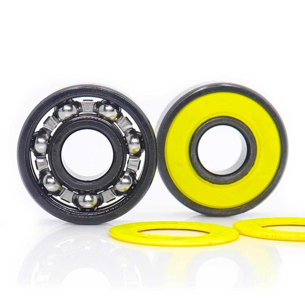 608rs rolamento inline do patim, gaiola de aço selada da categoria ABEC-9 amarelo v 608 rolamentos de esferas 2rs, velocidade lisa com óleo, lote de 10 pces