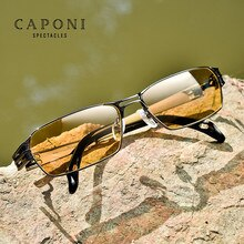 CAPONI Polarized Photochromic Sunglasses Classic Night Vision Driving Sun Glasses For Men Pure Titan