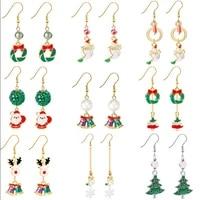 koj christmas accessories enamel earrings for women elk snowman snowflake tree wreath bell creative christmas new year eardrop