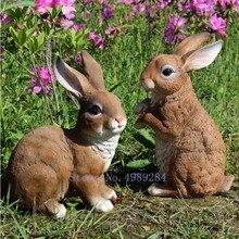 Kreatywne żywica królik ogród patio na zewnątrz dekoracyjne ozdoby symulowane zwierząt brązowy królik akcesoria do dekoracji domu nowoczesne