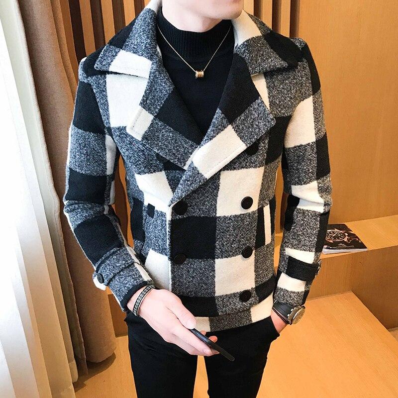 Abrigo-Abrigo de lana con doble botonadura para Hombre, Abrigo de lana con...