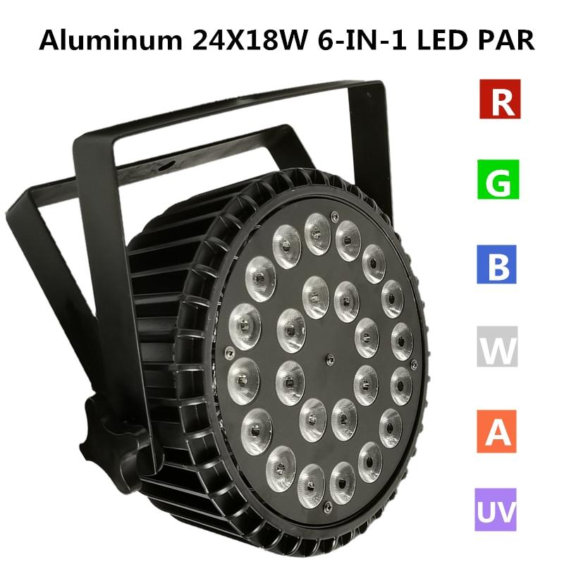 24X18W RGBWA + UV LED مصباح موازي المستوى يلقي الألومنيوم إضاءات دي جي المهنية المرحلة معدات led غسل الضوء