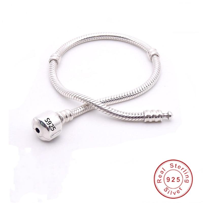 Original Fine Jewelry 925 Solid Silver Charm Bracelet With Certificate Soft&Smooth Snake Bone Bracelet for Women