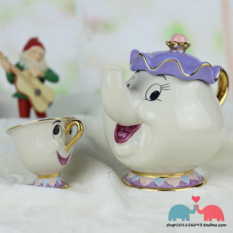 Tetera de dibujos animados La Bella y La Bestia taza de la taza de té de la señora Potts Chip juego de tazas de porcelana regalo 18K chapado en oro esmalte pintado