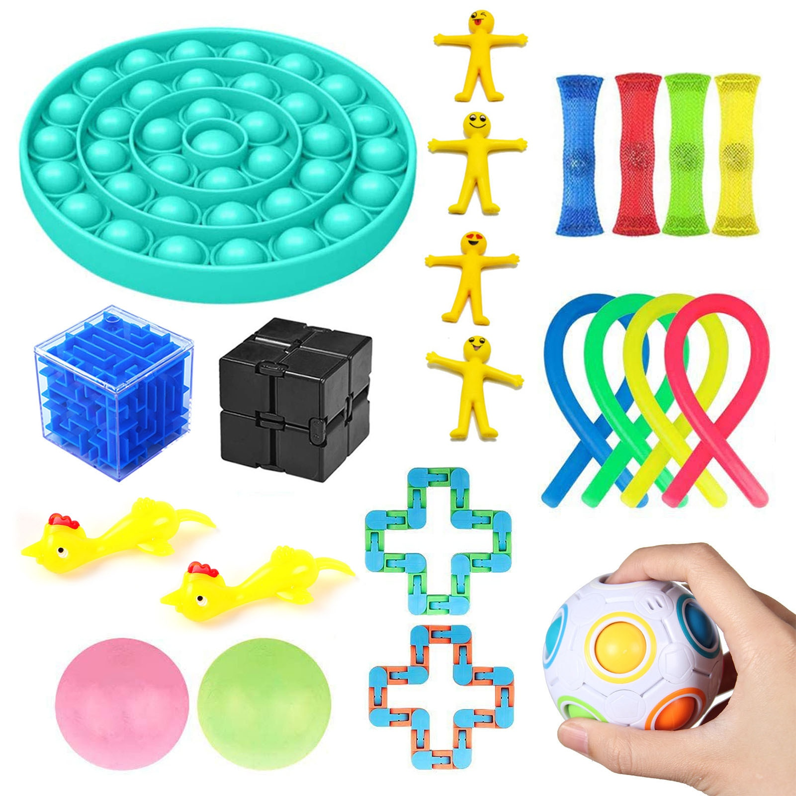 24 PackSensory Toy Set Stress Relief Toys Pressure Ball Noodle Rope For Kids Adults Autism Decompression Toy Puzzle Game enlarge