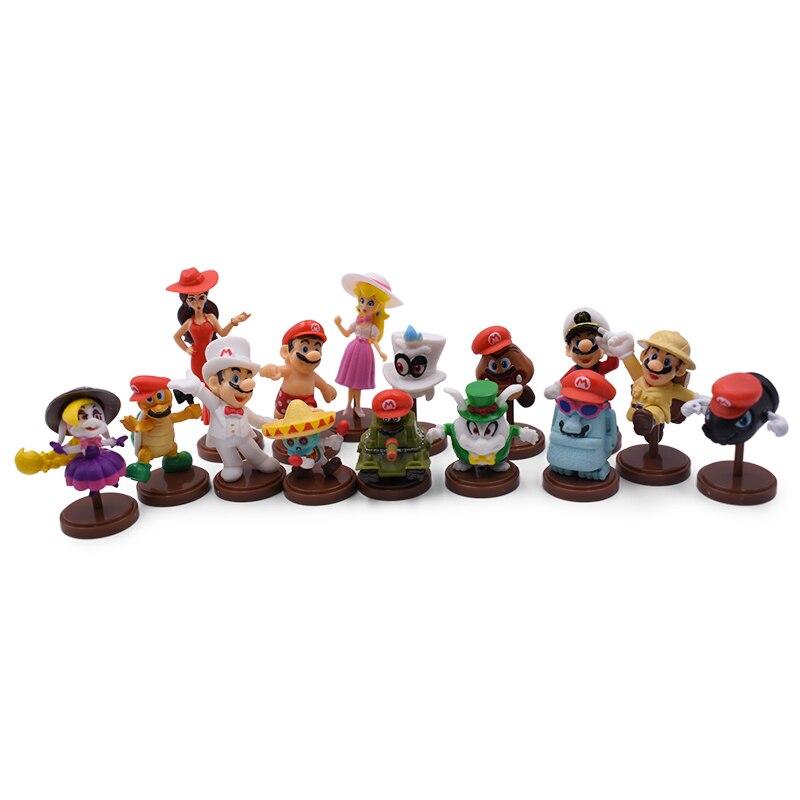 Figuras de acción de Super Mario Bros, set de 15 unidades de 3-8cm en PVC, juguetes para niños de Mario, Luigi, Yoshi, Odyssey, Donkey Kong, Princesa Peach