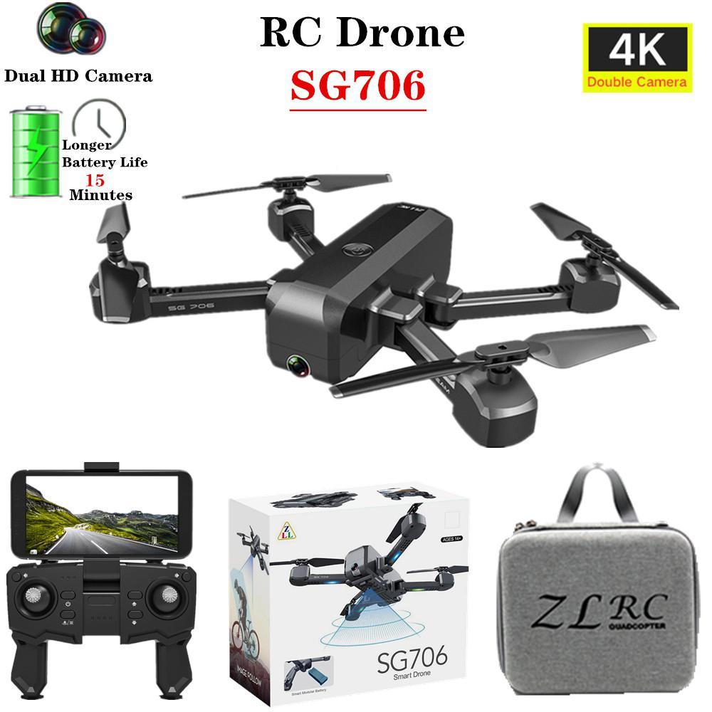 Drone 4K SG706, cámara Dual de HD, profesional para selfies, Quadcopter plegable para mantener la altura de vuelo, helicóptero SG706 VS KF607 XS809S XS816