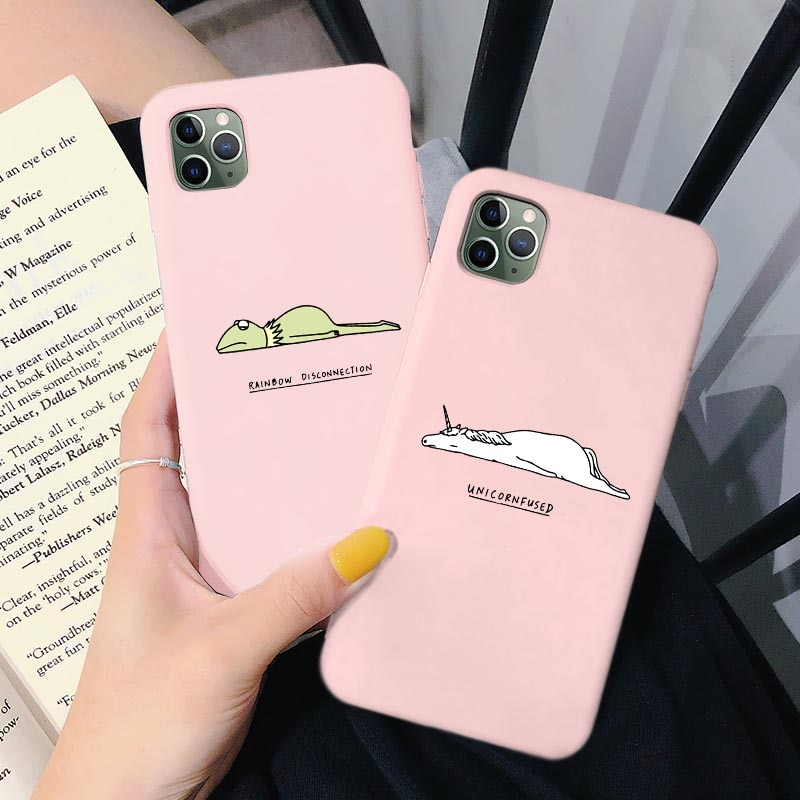Dessin animé Mignon Animal Drôle Allonger Sur Le Sol En Silicone Souple Pour iPhone 6 6s 8 7 Plus XR X XS Max 11 Pro Max SE2020 Couverture