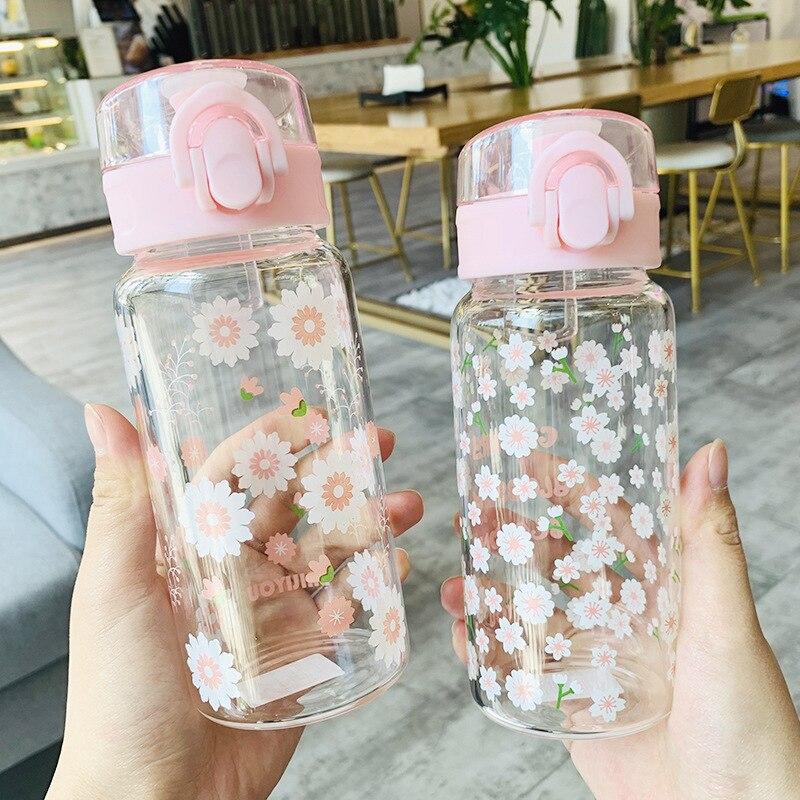 Botella de Agua de vidrio para niños, tapa emergente, patrón de flores, Botella de Cristal, para beber Agua