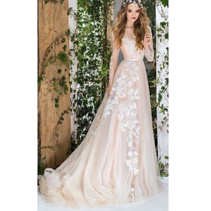 Charming Wedding Dresses Tulle Appliques Pleat Sashes Bateau Full Sleeve Backless A-Line Bridal Gowns Novia Do 2021 New