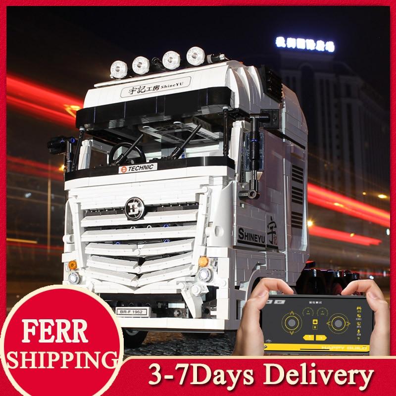 MOC High-Tech Flat-Bed Trailer Truck RC Car Technical Excavator Container bricks Model Boy Building