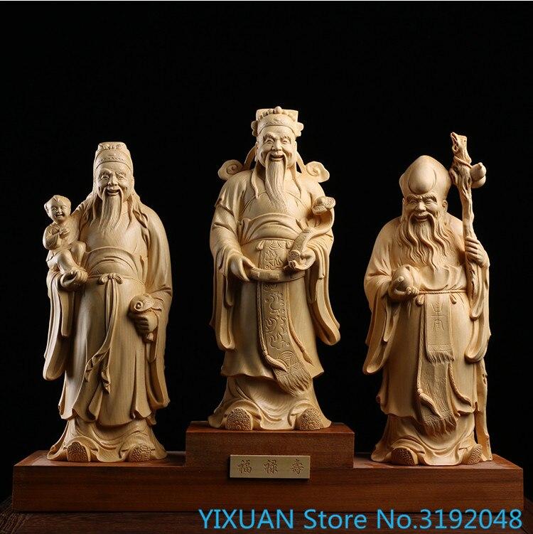 Juniper escultura em madeira maciça ornamentos domésticos elder aniversário e jogar coleção fulushou sanxing