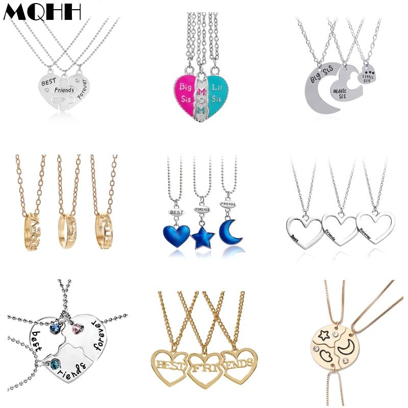 Collar de mejores amigos 3/hermana, mamá, oro plata, amor, Luna, estrella, anillo de concha, pendiente para mujer, accesorios de joyería