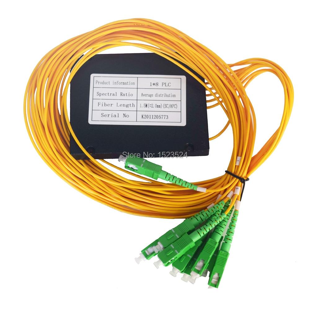 شحن مجاني 2.0 مللي متر 1x8 ABS صندوق وحدة نوع SC/APC موصل الألياف مقسم PLC للألياف الضوئية