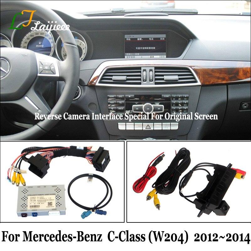 Câmera de estacionamento para mercedes benz c classe w204 2012 2013 2014 kit/diy, câmera traseira atualização de tela oem