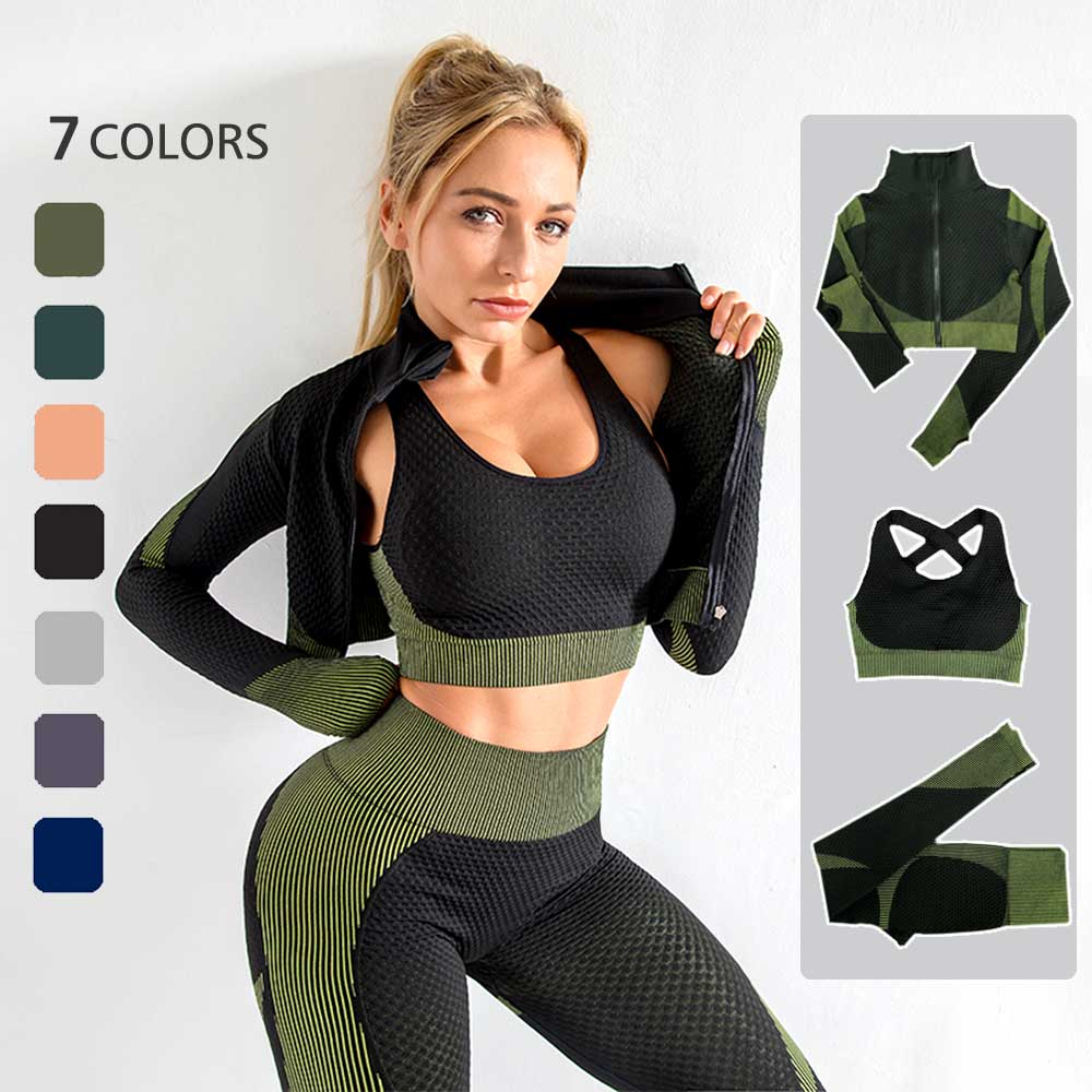 3PC Seamless Women Yoga Sets Female Sport Gym suits Wear Running Clothes women Fitness Sport Yoga Suit Long Sleeve yoga clothing