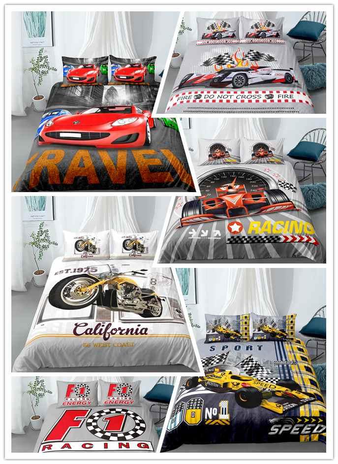 3d corrida impressão do carro jogo de cama para o quarto menino duvet cover conjunto fronhas consolador jogo cama twin