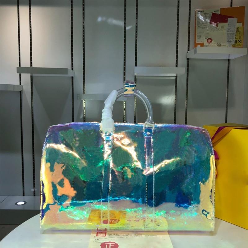 Luxury holographic brand new printing transparent large capacity sports handbag high quality PVC leisure fitness bag short dista