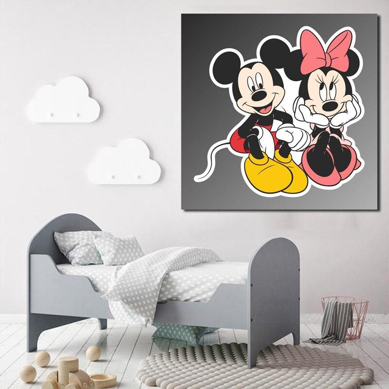 Cuadros en lienzo de arte de pared HD 1, impresión en paneles Mickey y Minnie Mouse, bonito póster para decoración del hogar, Marco Modular para dormitorio