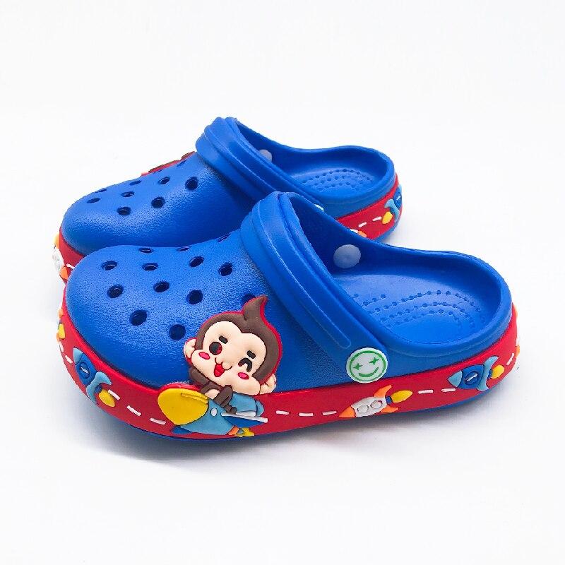 Sommer Kinder Jungen Croc Cartoon Affe Hausschuhe Für Jungen Mädchen Weichen Wasserdicht Rutschfeste Loch Kinder Strand Schuhe Slipper