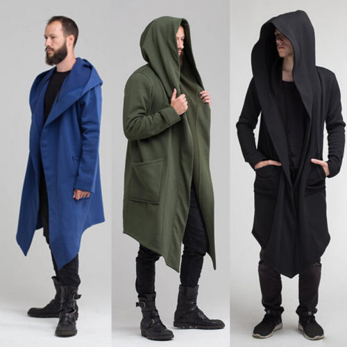 Fashion Long Sleeve Cardigan Men's Long Hooded Hoodies Jacket Gothic Sweatshirt Punk Hoody Coat Sherpa Outwear