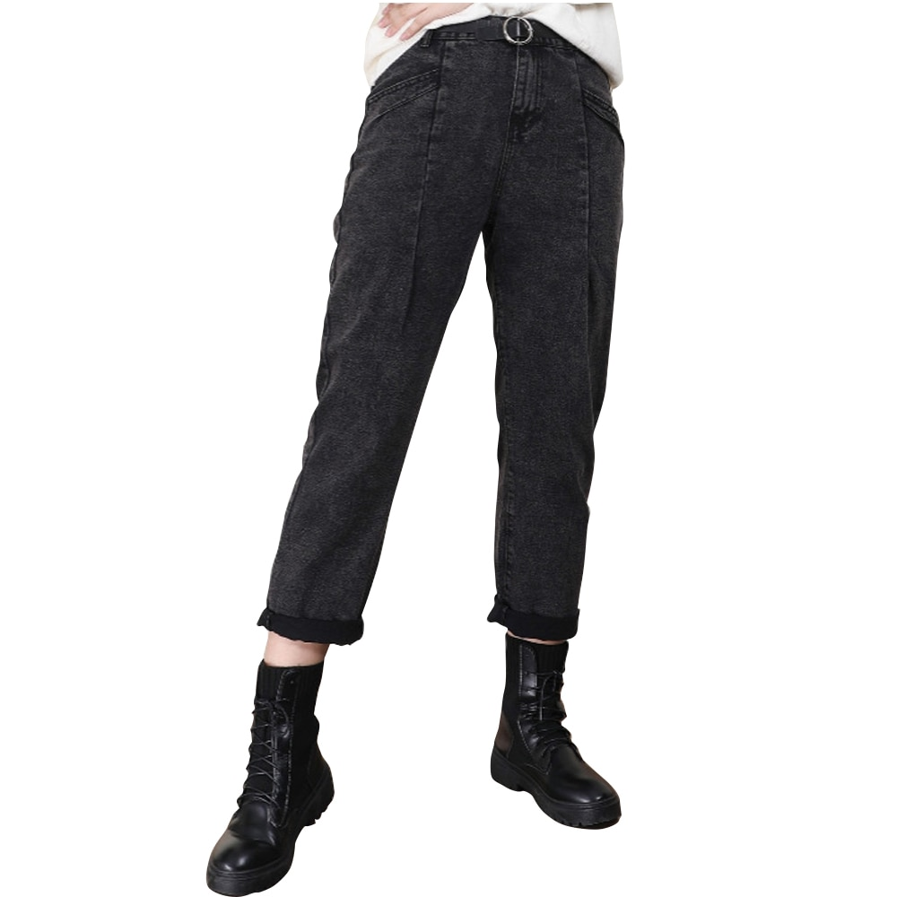 Spring Summer Women Plus Size Denim Jeans Pants Ankle Length Black Oversize High Waist Trousers Fashion Casual For Woman 2021
