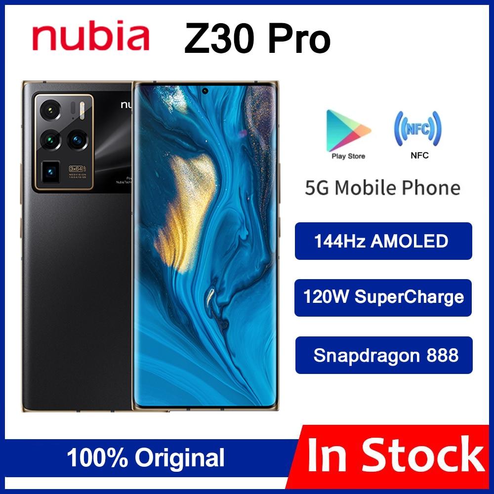 2021 Новый ZTE Nubia Z30 Pro 5G смартфон 6,67 дюйм amoled 144 Гц гибкий изогнутый Экран Snapdragon 888 Octa Core 120W SuperCharge