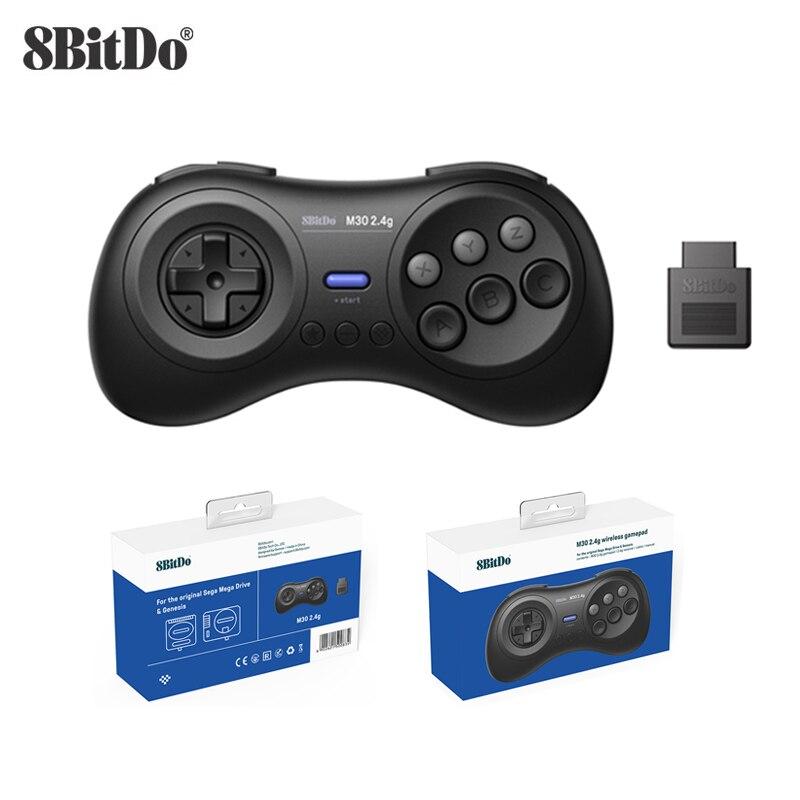 8BitDo M30 2.4G Wireless Gamepad لـ Sega Genesis/Sega Genesis Mini/Mega Drive ، وحدة تحكم ألعاب صغيرة