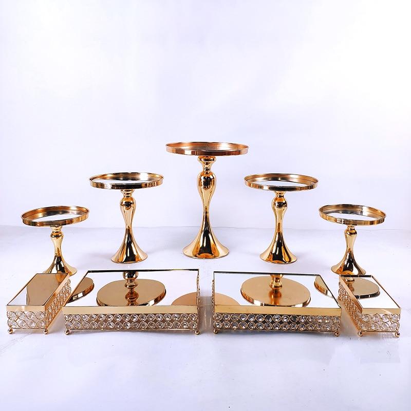 7 قطعة-17 قطعة الزفاف كعكة الوقوف مجموعة الذهب مرآة المعادن كب كيك صينية جميلة الحلوى عرض أدوات الديكور