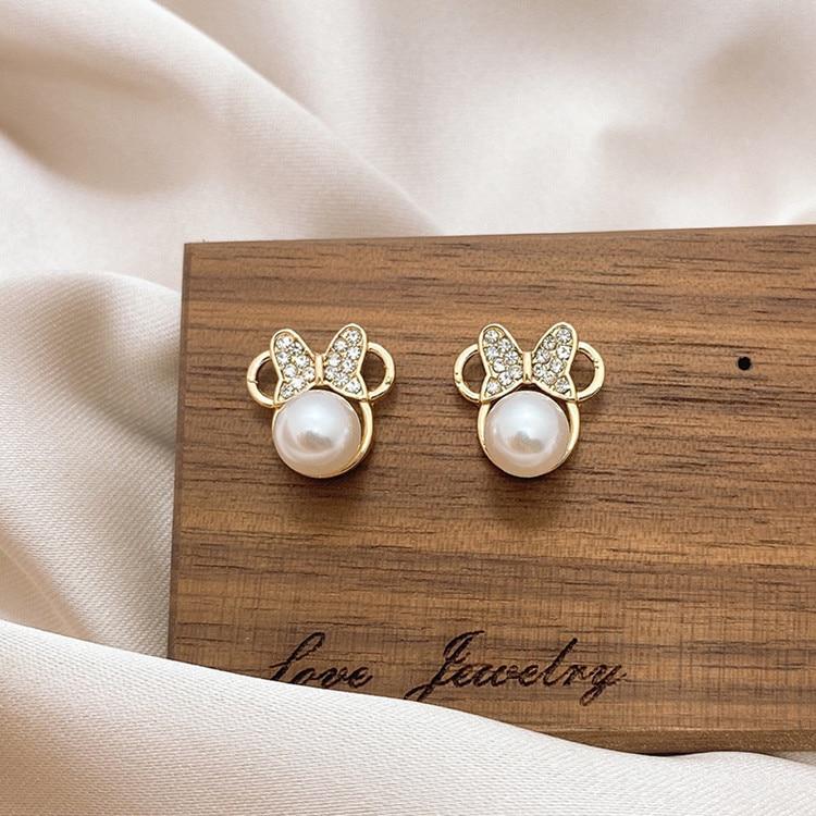 Naušnice kristalne biserne naušnice za žene jednostavne mašne - Modni nakit - Foto 1