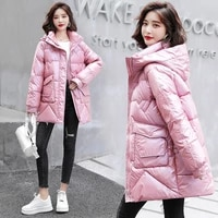 2021 new bright face down womens winter bread medium long cotton padded jacket loose thickened damp