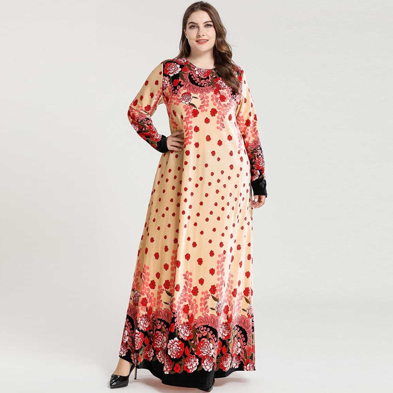 Roupa islâmica plus size selo de ouro floral maxi vestido abaya para as mulheres manga longa veludo outono inverno vestidos quentes