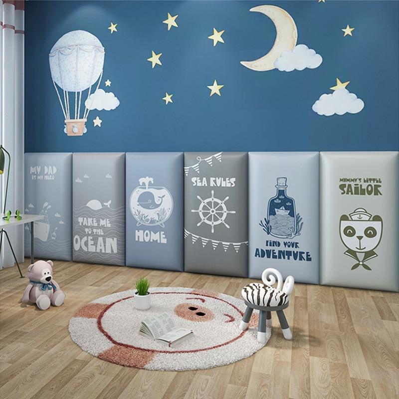 Детская мебель для защиты от столкновений, Настенная Наклейка на изголовье кровати, мягкая татами, украшение для детской спальни, самоклеящ...