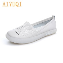 Women's Loafers Genuine Leather 2021 Newest Breathable Soft  Hollow Flat Shoes For Pregnant Women La