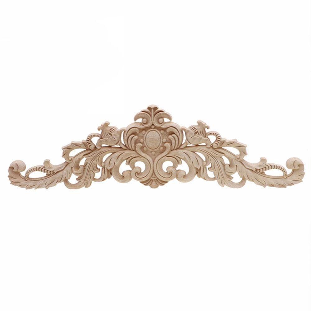 1 pçs design de flor do vintage carpenter madeira de carvalho esculpida canto onlay apliques sem pintura quadro mobiliário decoração da porta ornamento