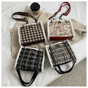 Winter Wool Crossbody Bags For Women Plaid Warm Female Handbag Large Capacity Female Handbag Travel Shopping Shoulder Bag