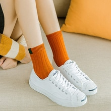 Socks Women's Mid Tube Stockings Korean-style College Style Autumn and Winter Long Socks Cloth Label