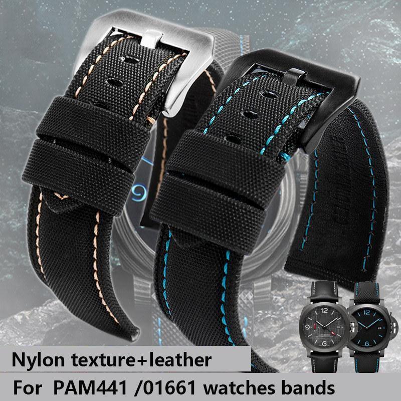 For Panerai PAM441/01661 wristband 22mm 24mm 26mm Leather Sport Watchband Black Blue Watch Strap Accessories Bracelets