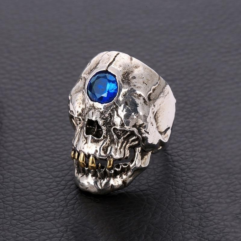 Anillo de calavera de acero inoxidable Vintage, anillo de Cíclope de mito griego antiguo para fiesta de motocicleta, anillos góticos Steampunk para joyería de hombre